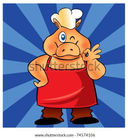 piggy chef 2 - stock vector