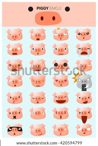 Piggy emoji icons, vector, illustration - stock vector