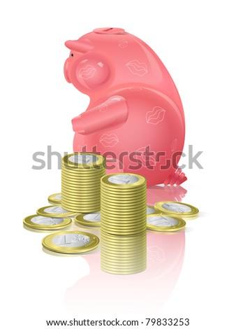 Piggy moneybox with money - stock vector