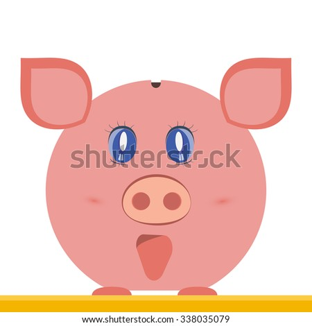 Piggy pig bank on a white background. Vector illustration. Piggy pig icon.