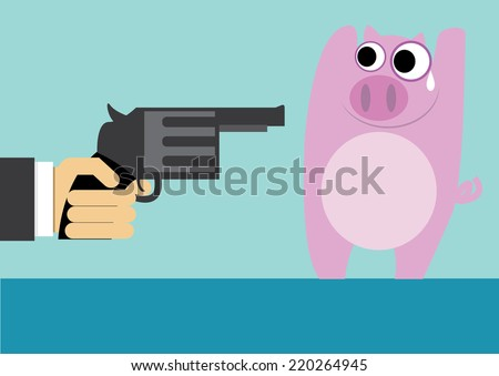 Piggy robbed - stock vector