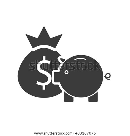piggy savings with business icon vector illustration design