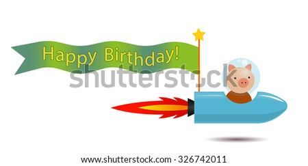 piggy spaceman on the rocket spaceship with flag for greeting inscriptions, captions, headings, headlines, etc - stock vector