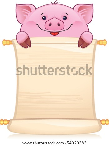 Piglet with scroll. Symbol of Chinese horoscope - stock vector