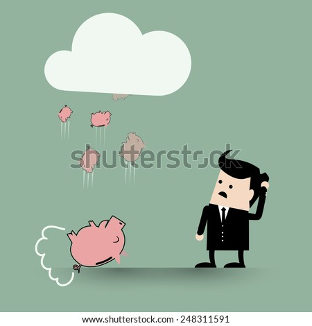 Pigs fall from the cloud. Saving problem concept