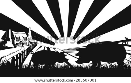 Pigs in silhouette standing in the foreground and an a farm house thatched cottage in an idyllic landscape of rolling hills with sunrise in the background - stock vector