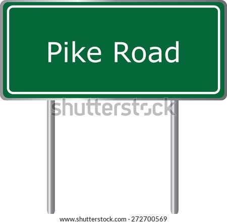 Pike Road, Alabama, road sign green vector illustration, road table, USA city - stock vector