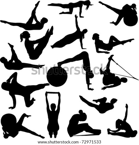 pilates women silhouettes - vector - stock vector
