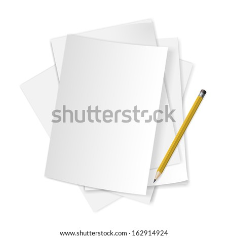 Pile of blank papers with pencil on white background.