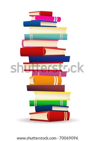 Pile of books vector illustration - stock vector