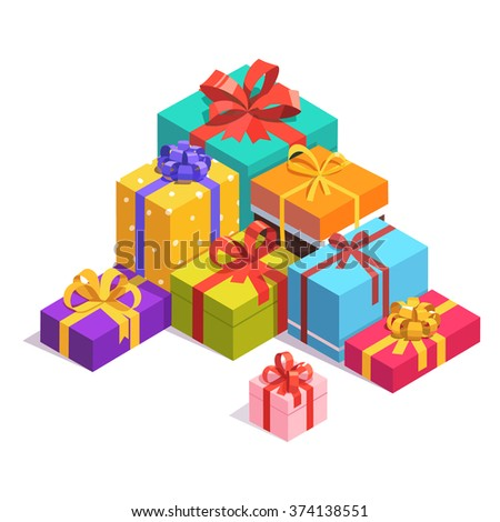 Pile of bright, colorful present and gift boxes with ribbon bows. Flat isometric illustration on white background. - stock vector