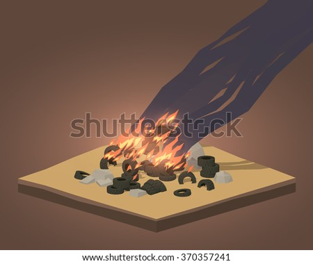 Pile of burning tires. 3D lowpoly isometric vector concept illustration - stock vector