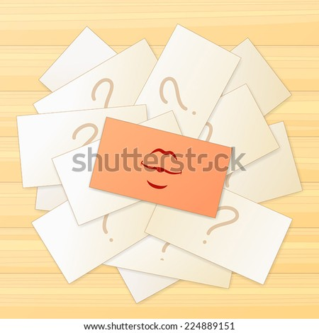 Pile of cards with a question sign and one card with a kiss sign on top of this pile - stock vector