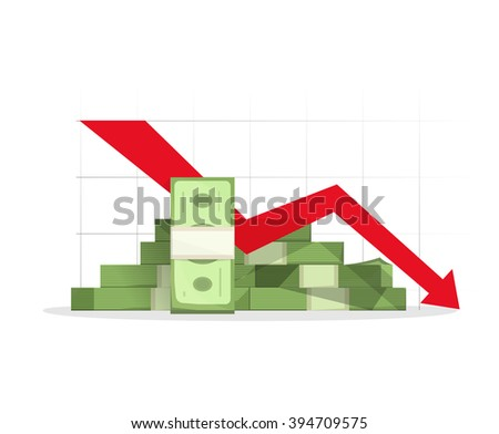 Pile of cash red recession graph with downward arrow vector illustration, concept of business failure, financial depression diagram, reaching down, analytics, bad report symbol, isolated on white sign - stock vector