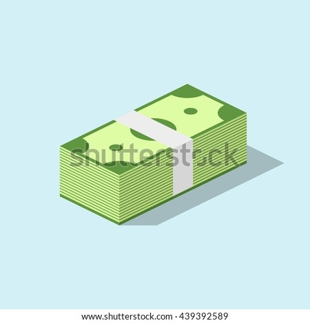 Pile of cash stacked hundreds of dollars in flat style. Dollar paper business finance money concept and dollar stack of bundles. Banking edition banknotes bills isolated on blue background. - stock vector
