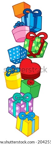 Pile of Christmas gifts - vector illustration.