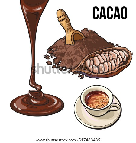 Pile Of Cocoa Powder Cacao Fruit Hot Chocolate Cup And Topping Flowing Down