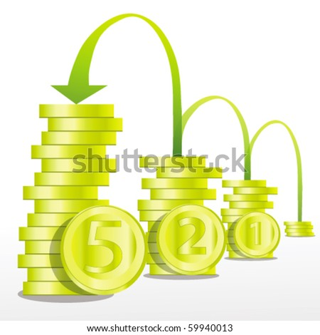 pile of coins and arrow showing profits - stock vector