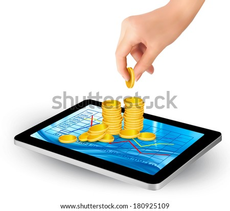 Pile of coins on a tablet. Internet job concept. Vector. - stock vector