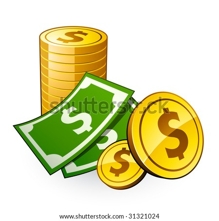pile of coins with dollar - stock vector