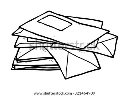 pile of envelope / cartoon vector and illustration, black and white, hand drawn, sketch style, isolated on white background. - stock vector