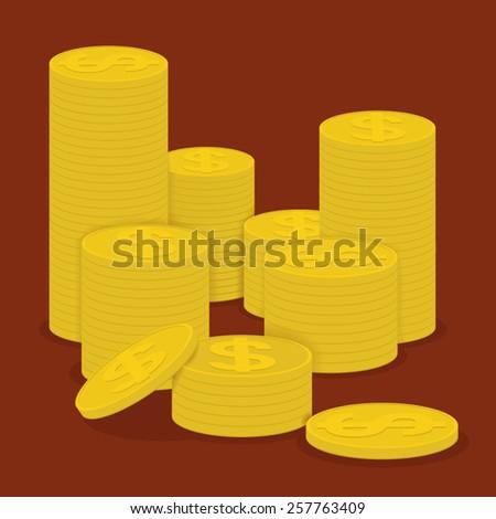 Pile of golden coins  - stock vector