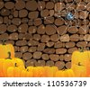Pile of Halloween pumpkins in a stone dungeon with cobweb and spider - stock vector