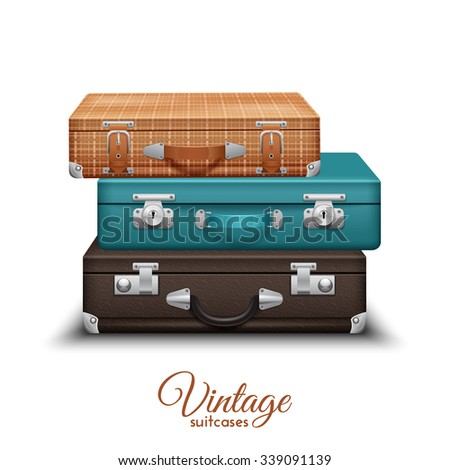 Pile of old vintage travel suitcases set realistic vector illustration - stock vector