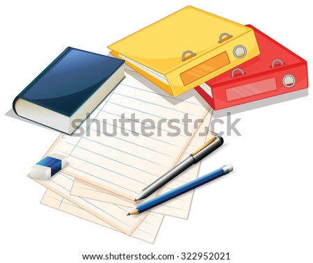 Pile of papers and files illustration - stock vector
