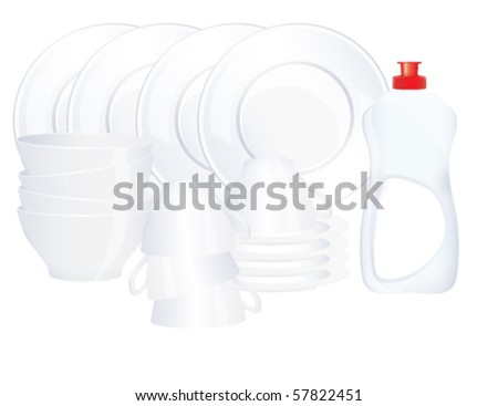 Pile of pure dishes with a bottle, vector - stock vector