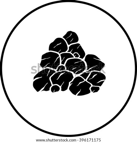 pile of rocks or coal symbol - stock vector