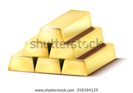 Pile of shiny gold bars on the white background - vector illustration - stock vector