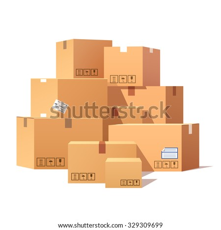 Pile of stacked sealed goods cardboard boxes. Flat style vector illustration isolated on white background. - stock vector