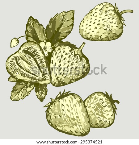 Pile of strawberries with leaves and flowers. Vector Image - stock vector