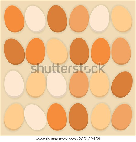 Pile of the organic eggs on the ocher backgound - stock vector