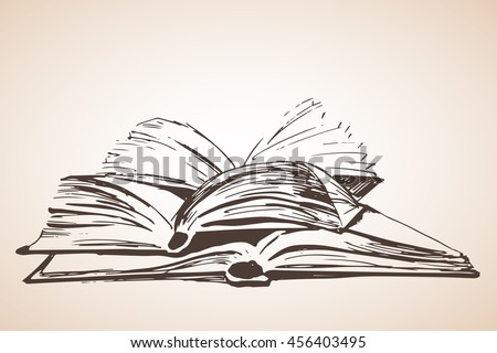 Pile of three open books. Isolated on white background