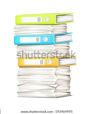 Pile Papers and Binders - stock vector