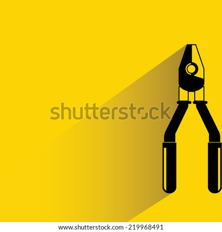 piler tools on yellow background, flat and shadow theme design - stock vector