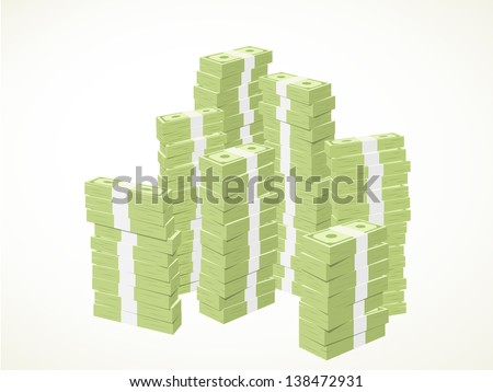piles of green banknotes - stock vector
