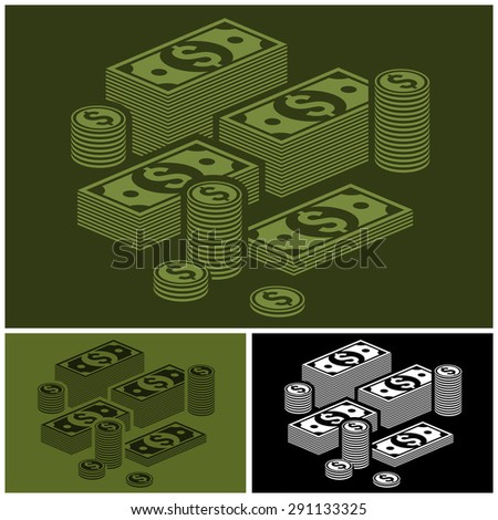 Piles of money stack, dollar and coins set, vector illustration - stock vector