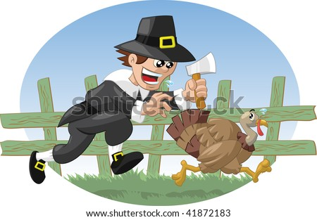 Pilgrim farmer chasing turkey