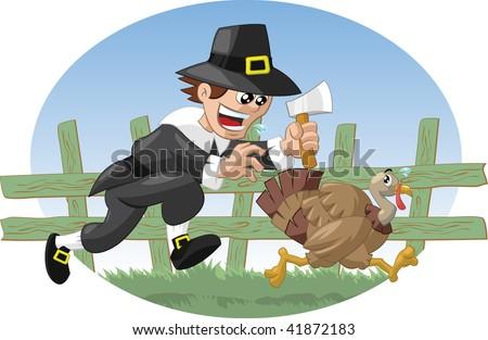 Pilgrim farmer chasing turkey - stock vector