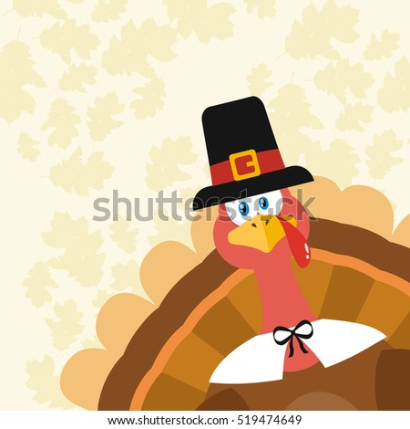 Pilgrim Turkey Bird Cartoon Mascot Character Peeking From A Corner. Vector Illustration Flat Design Over Background With Autumn Leaves