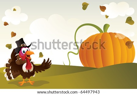 Pilgrim turkey with a giant pumpkin on the background. - stock vector