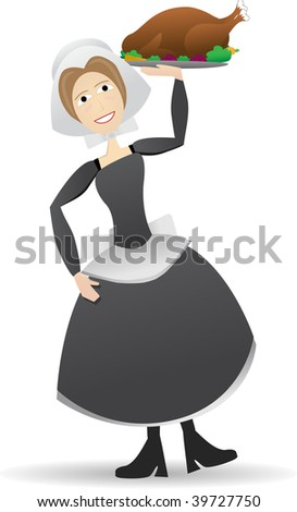Pilgrim woman carrying thanksgiving turkey - stock vector