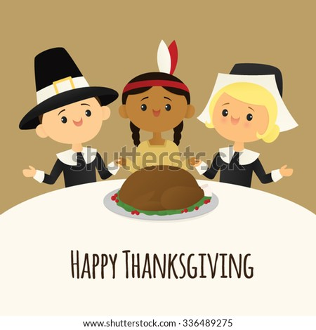 Pilgrims and native American celebrate a Thanksgiving feast - stock vector