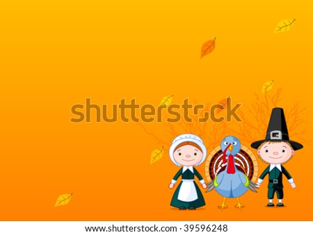 Pilgrims holding a wings (hands) with turkey. - stock vector