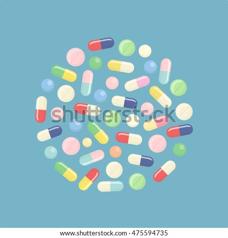 Pill and tablets, medicine isolated on background. Heap of medicines, capsules, drug. Healthcare. Medical vector illustration. Flat style