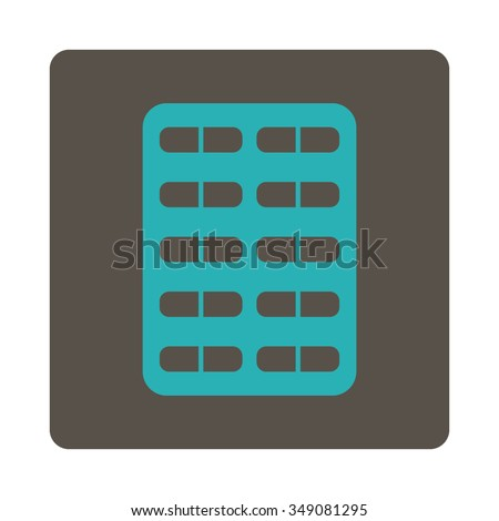 Pill Blister vector icon. Style is flat rounded square button, cyan and grey colors, white background.