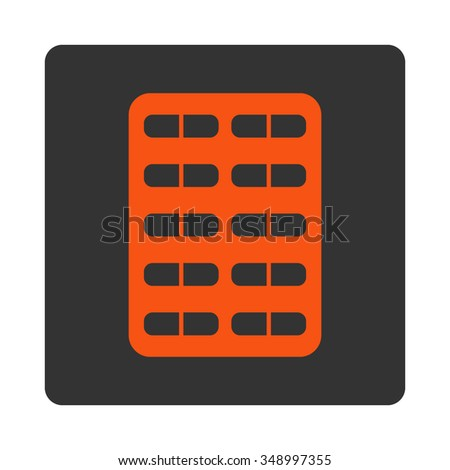 Pill Blister vector icon. Style is flat rounded square button, orange and gray colors, white background.